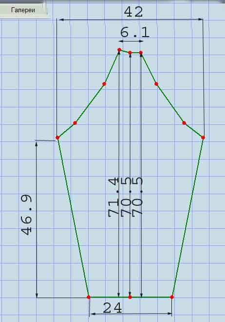 Выкройка-основа с рукавами реглан на мужскую фигуру 50-го размера.